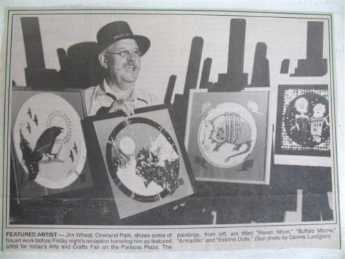 Jim Wheat with some of his work June 1995 Parsons, Ks. Art & Craft Fair which he helped organize in 1962.