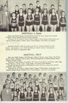 BASKETBALL - A SQUAD  Back row:  Derrell Jones, Jack Woodhead, Robert McLean, Roger Root, Donald O'Donnell, Bill Coughl