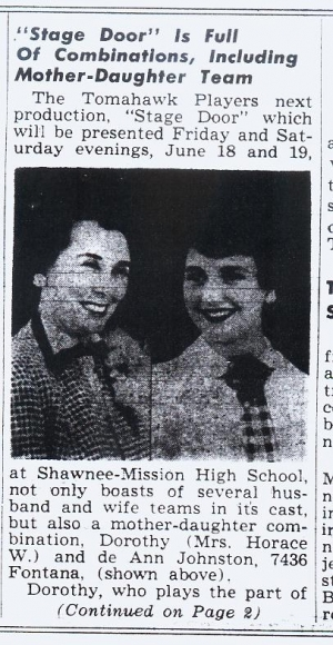 de Ann Johnston and her Mom Dorothy  June 15, 1954 Prairie Scout Newspaper