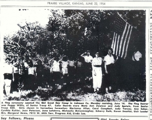 Peggy Willis Girl Scout Troop 47 was flag bearer  Prairie Scout Peggy is right of flag white shirt Newspaper June 22, 19