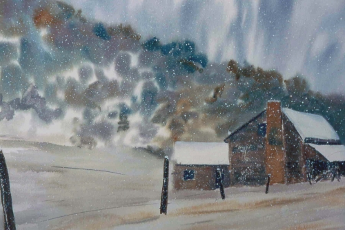 Tom Kirby   Winterbarn  Watercolor