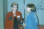Sandra Sherman Chipsham and Alice Calderwood Hawk at Overland Park Grade School Reunion in 2007
