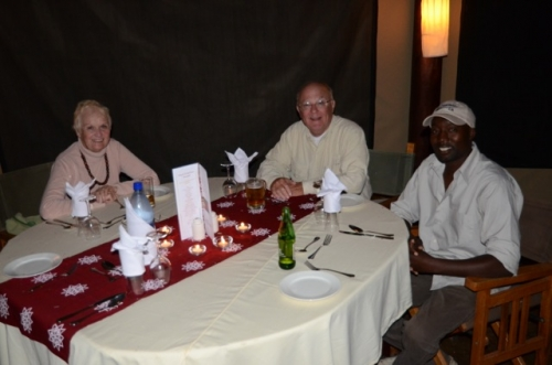 Christmas dinner at the Serengiti Lodge with Carolyn, me and our guide, Willie.